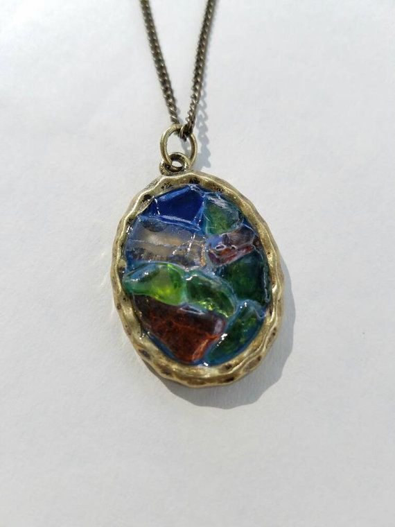 Beautiful sea glass pendant, inspired by stained glass windows♡♡♡♡ https://www.etsy.com/listing/460433992/beautiful-multi-colored-seaglass-vintage