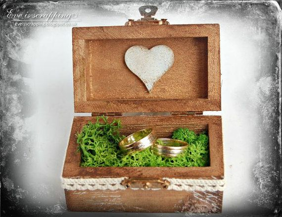 Wedding Ring Bearer Box Wooden Ring Box Rustic by EveIsScrapping