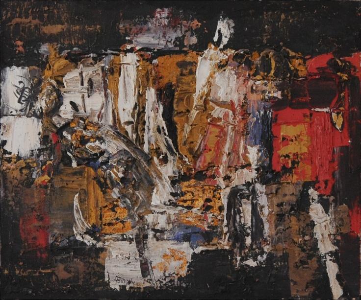 """Alfonso Borghi, """"Oltre torrente"""", 2004, tecnica mista su tela, 120x100"""