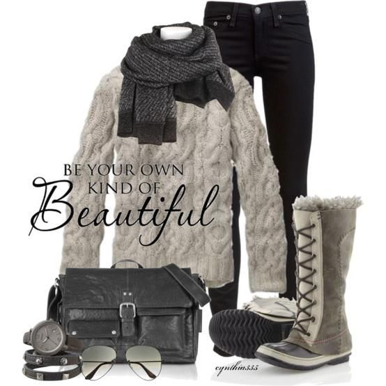 Super cute winter outfit. I mean if you have to wear a snow boot!!!