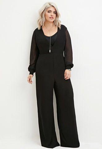 Plus Size V-Neck Chiffon Jumpsuit | Forever 21 PLUS - 2000146545