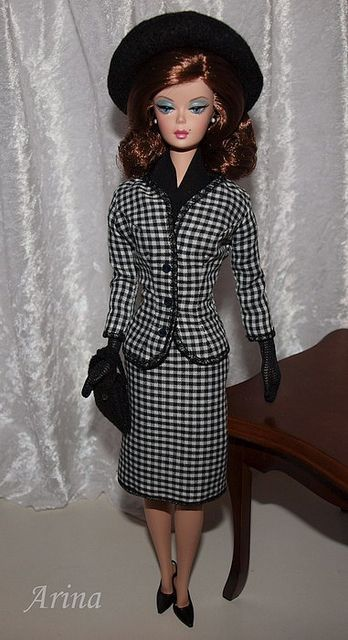 Jacqueline Kennedy suit in black and white with black braided trim for Silkstone Barbie. by arina_fashions, via Flickr