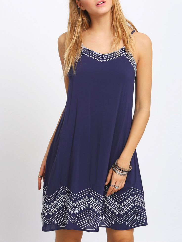 Shop Royal Blue Embroidery Spaghetti Strap Dress online. SheIn offers Royal Blue Embroidery Spaghetti Strap Dress & more to fit your fashionable needs.