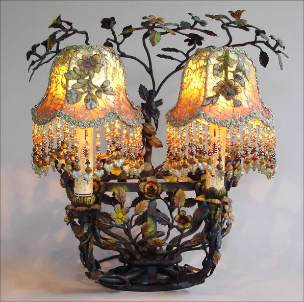 Charming, Unusual Tole Basket Lamp Covered In Flowers And Leaves.