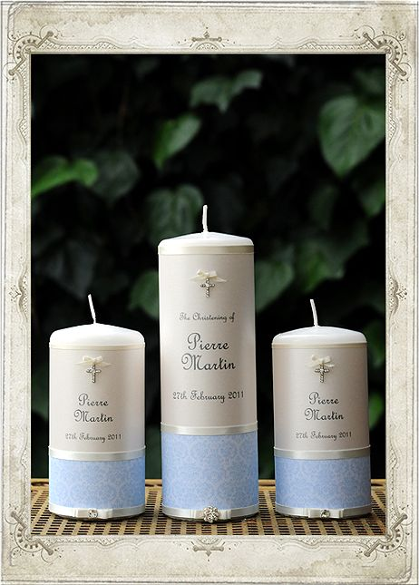 Christening - French Blue Set of 3 Candles - Personalised Candles Sydney | Wedding, Christening, Baptism, Birth, Naming Day Candles | Adorned Candle Boutique