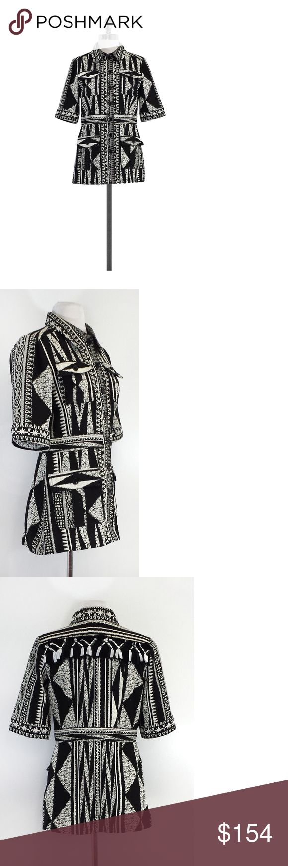 """Anna Sui- Black & White Print Short Sleeve Jacket Sz S Size S Black & White Print Short Sleeve Jacket Self 46% polyester 38% cotton 16% viscose Lining 100% acetate Made in USA Collared Aztec print Button chest & hip pockets Buttons down front Back green, black & white fringe & tassel design Shoulder to hem 27.5"""" Anna Sui Jackets & Coats Jackets & Coats"""