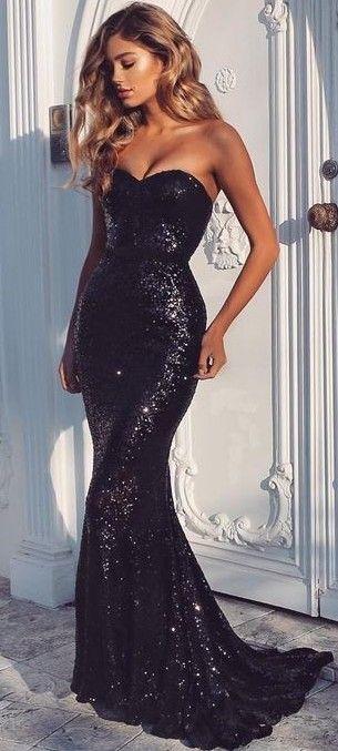 Black Sequin Gown                                                                             Source