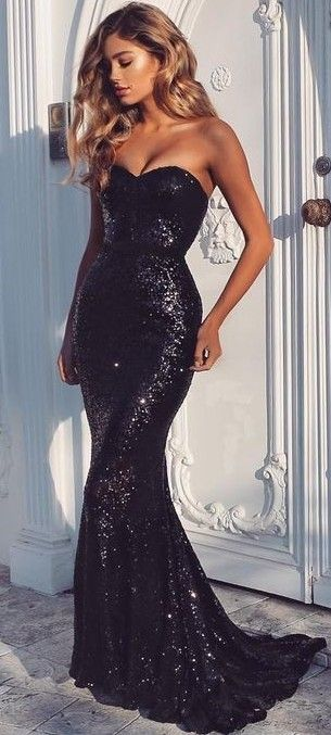 Black Sequin Gown                                                                             Source