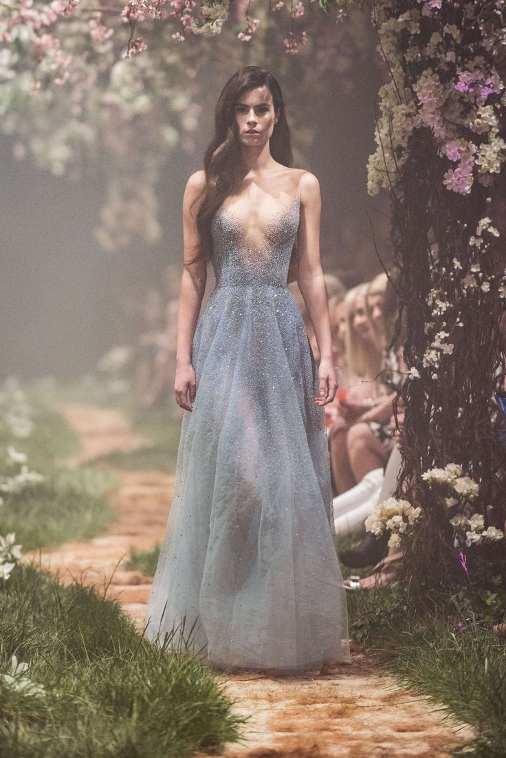 PSSS1832 – Gown with illusion neckline and scattered crystal beadwork