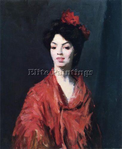 HENRI-ROBERT-SPANISH-WOMAN-RED-SHAWL-ARTISTE-TABLEAUX-HUILE-SUR-TOILE-PEINTURE