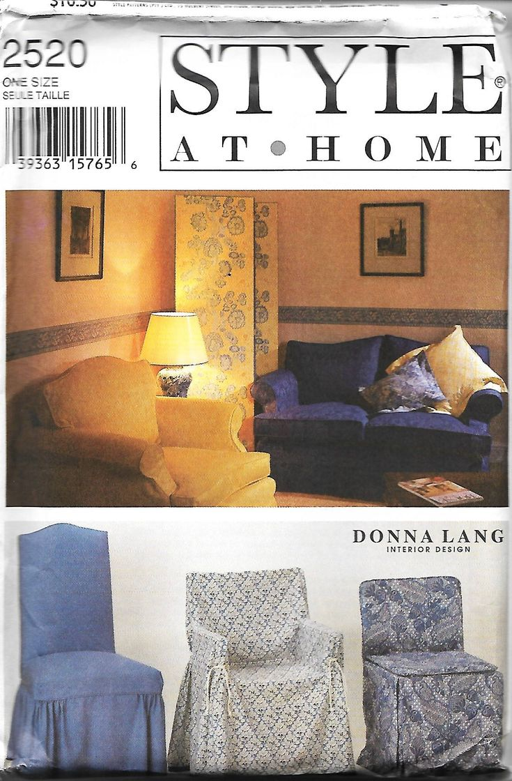 Style 2520 Style At Home Sewing Pattern, Slipcovers And Chair Covers, Donna Lang Interior Design, UNCUT by DawnsDesignBoutique on Etsy