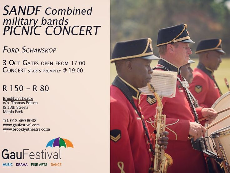SANDF Combined military bands PICNIC CONCERT 3 OCTOBER 2017 FROM 17:00 Concert starts promptly… https://t.co/SdvpJ9Pq2w