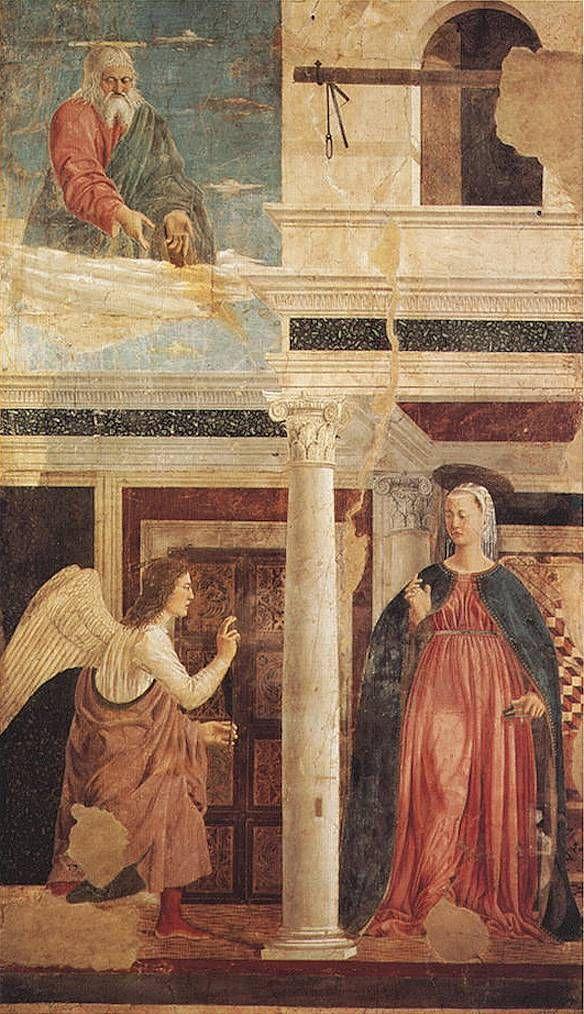 Piero della Francesca - Annunciazione - Storie della Vera Croce nella cappella maggiore della basilica di San Francesco ad Arezzo, databile al 1452-1458.