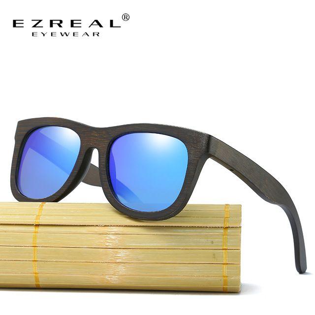 EZREAL Polarizada Óculos De Sol De Madeira Homens Mulheres Praça Mulheres de bambu Para As Mulheres Homens Espelho óculos de Sol Óculos de oculos de sol masculino