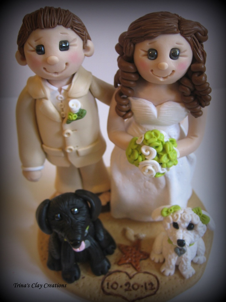 Wedding Cake Toppers With Two Dogs