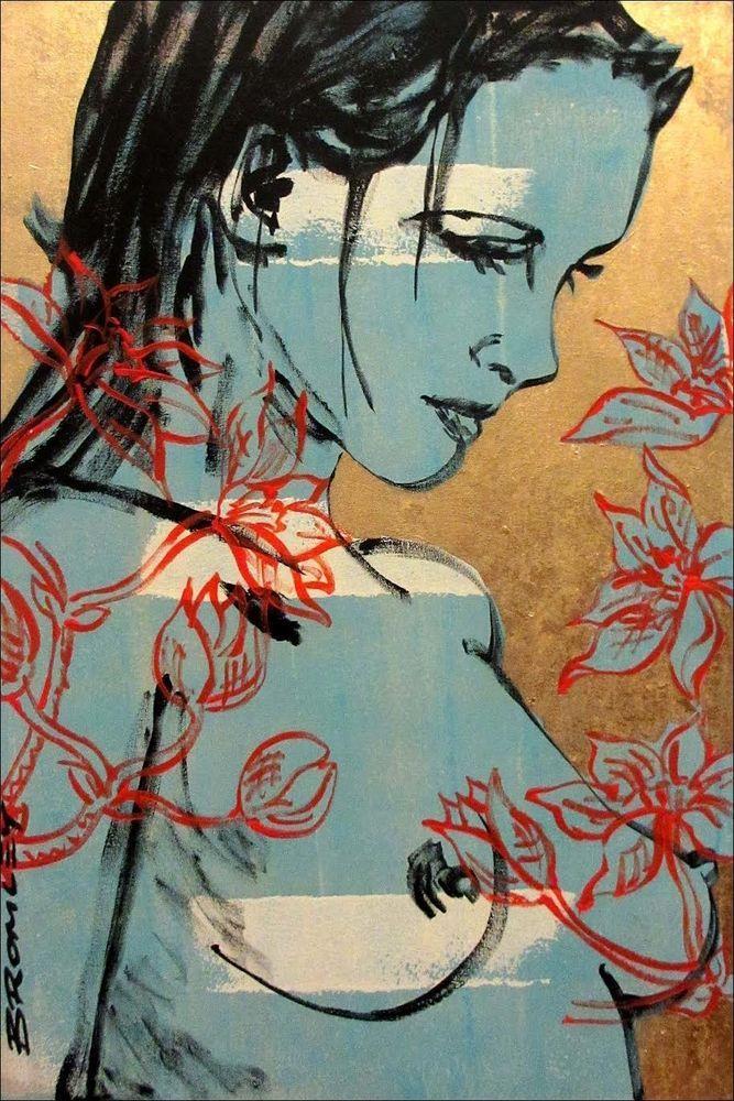 DAVID BROMLEY Nude Romy Polymer & Gold Leaf on Canvas 90cm x 60cm