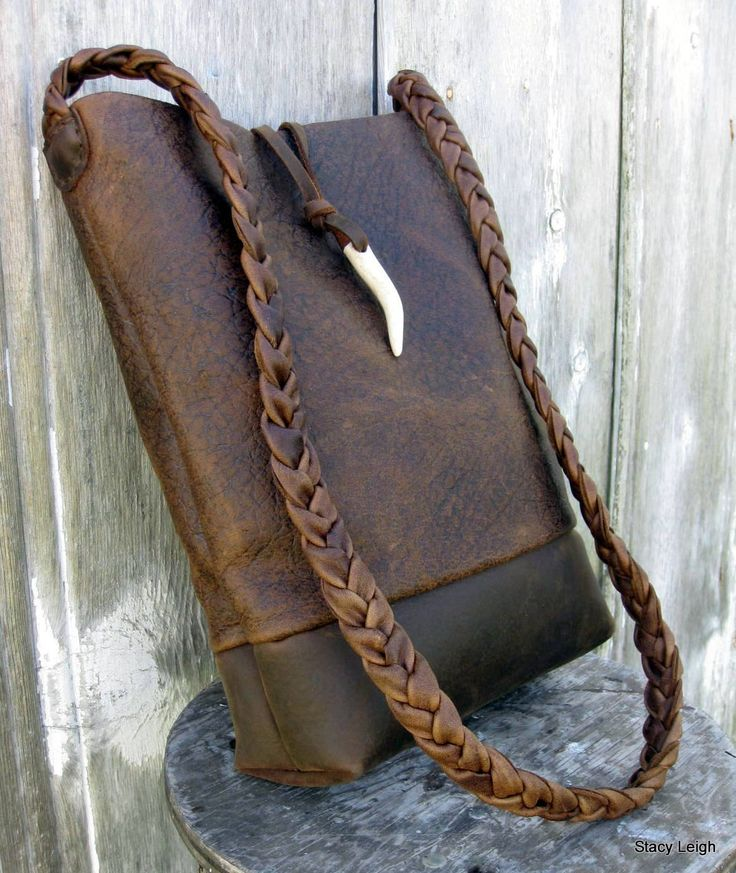 Rustic Brown Bison Leather Bucket Cross Body Bag by by stacyleigh