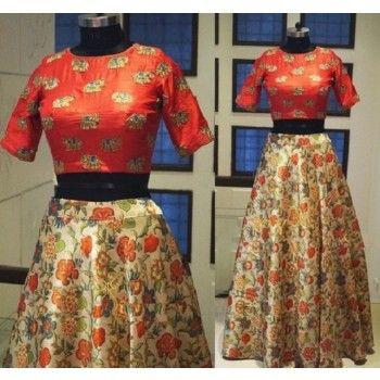 Raw Silk Multicolour Floral Print Semi Stitched Lehenga - STS004
