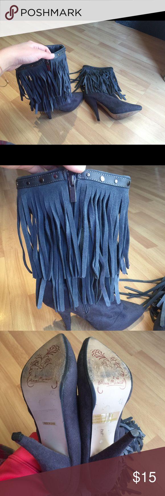Grey high heel boots Grey high heel boots used Anne Michelle Shoes Heels