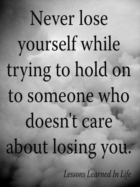 Easy solution: Don't waste your precious time trying to hold on to someone who doesn't care!
