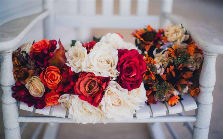 Herunterladen hintergrundbild brautsträuße, rosen, pfingstrosen, brautstrauß, hochzeit
