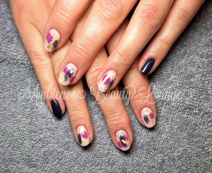 BioSculpture Gel Abstract Blue/Purple/Gold Nails