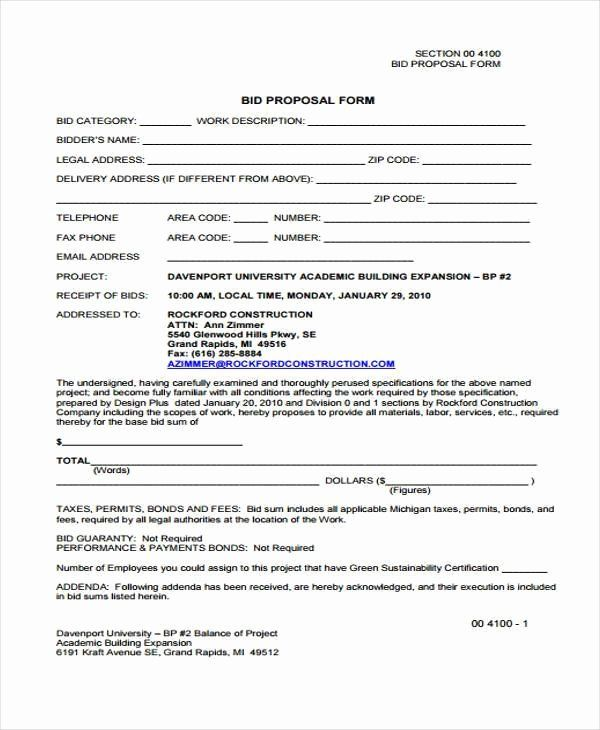 Bid Form Template Free Inspirational Free 35 Proposal Form Templates Proposal Templates Free Bid Proposal