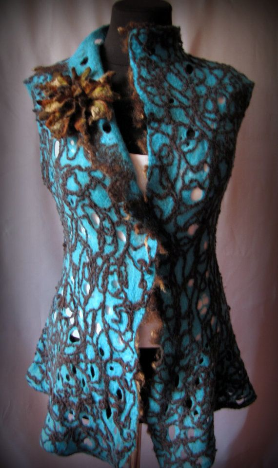 Felted vest Cobweb turquoise by VictoriaPetryk on Etsy