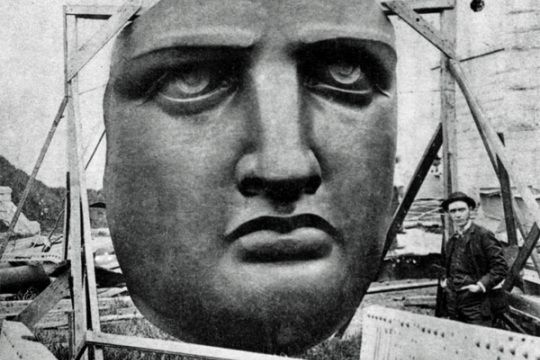 Lady Liberty's face.