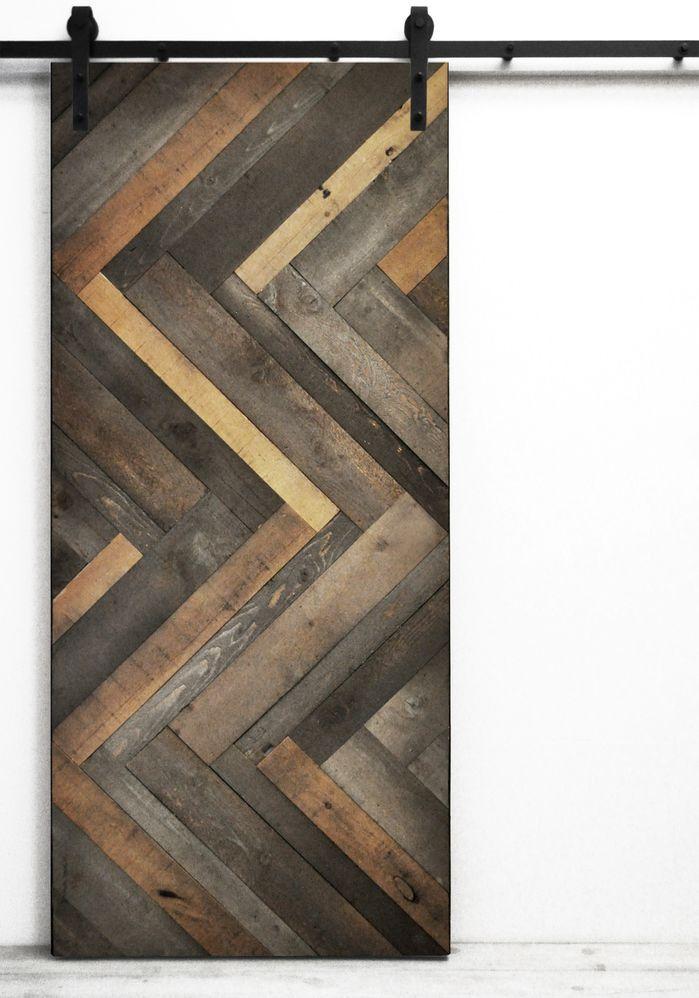herringbone wood lacquer stained interior barn door