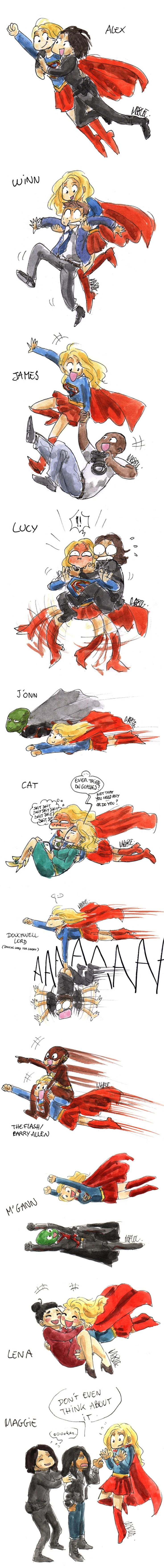 Flying with Supergirl fanart