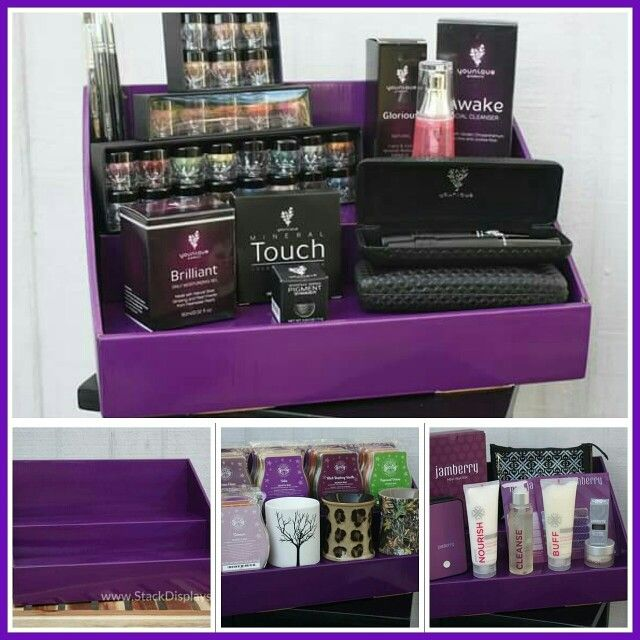 "Original Stack Display - Solid Purple - 14"" wide x 8"" deep x 8"" high with 4""deep shelves This color will coordinate with products from companies such as Scentsy, Younique, Jamberry, Jaffra and more! O"