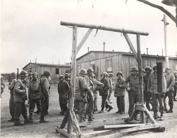 Ohrdruf, Germany, April 1945, US soldiers near the camp scaffold.