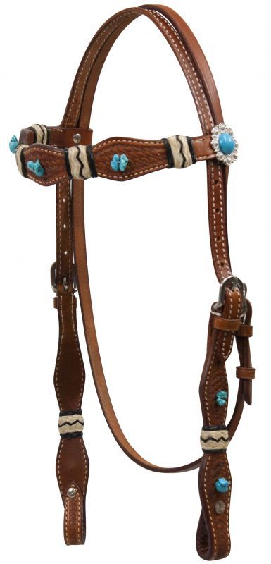 ... Showman Double Stitched Turquoise Beaded Stone Headstall with Rawhide
