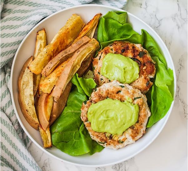 Spinach Avocado Chicken Burgers #dinner