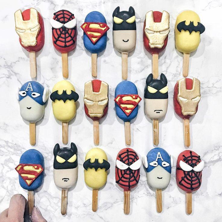 Superhero cake popsicles by Shaun Teo (@shaunteocreations)