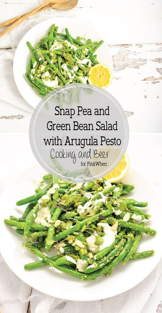 Snap Pea and Green Bean Salad with Arugula Pesto is a light and ...