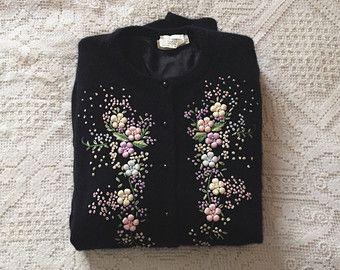 vintage 1950s black floral embroidered cardigan