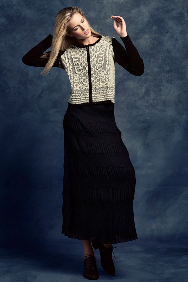KRISS Fall Collection 2014. Long skirt with a knitted jacket