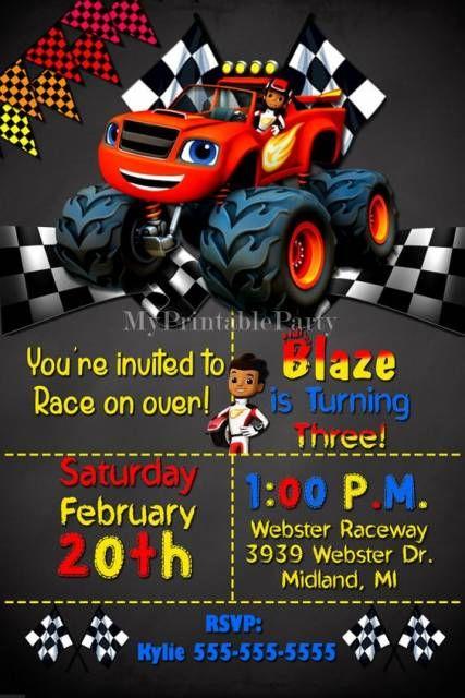 Convite de Aniversário para festa Blaze Monster Machine.