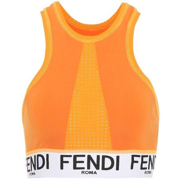 Fendi Sports Bra ($195) ❤ liked on Polyvore featuring activewear, sports bras, orange, orange sports bra and fendi