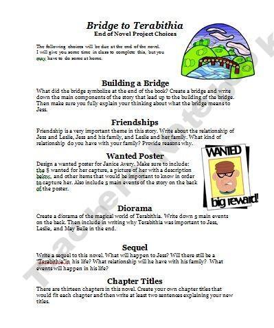 Love this!  Bridge to Terabithia FREE Activity Guide!!