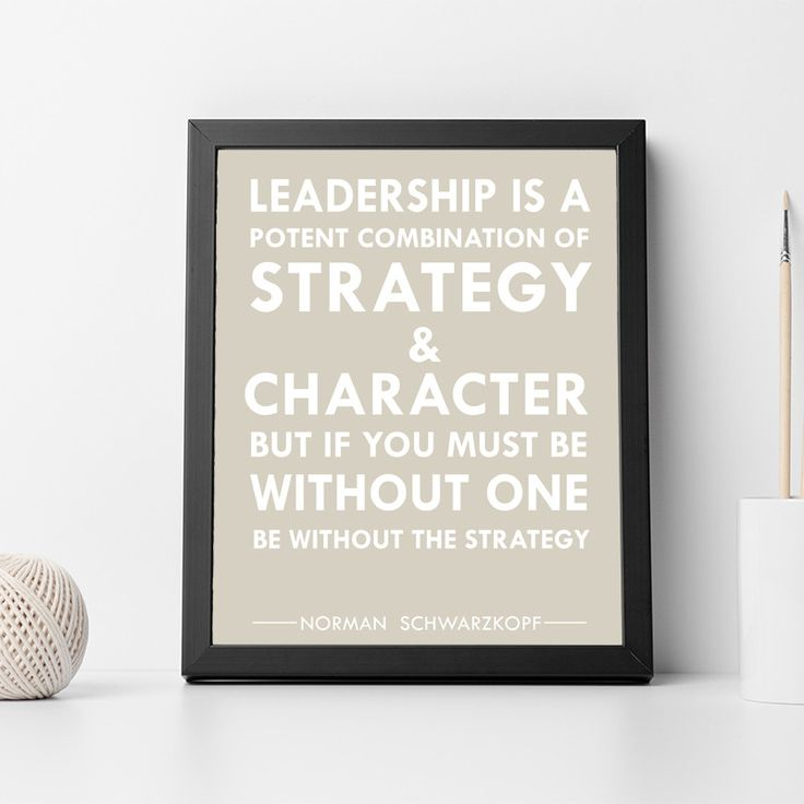 "Norman Schwarzkopf Inspirational Typography Quote Print ""Leadership"" Wall Décor Illustration"