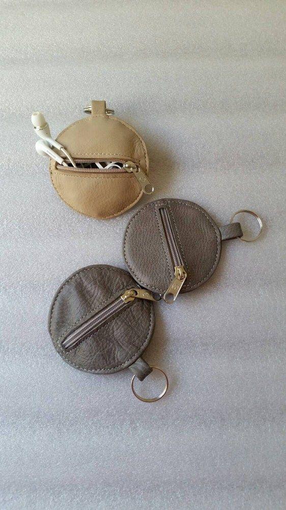 Headphones case / pouch leather bag / coin bag / unique cool keychain / headphones | fgalaze - Accessories on ArtFire