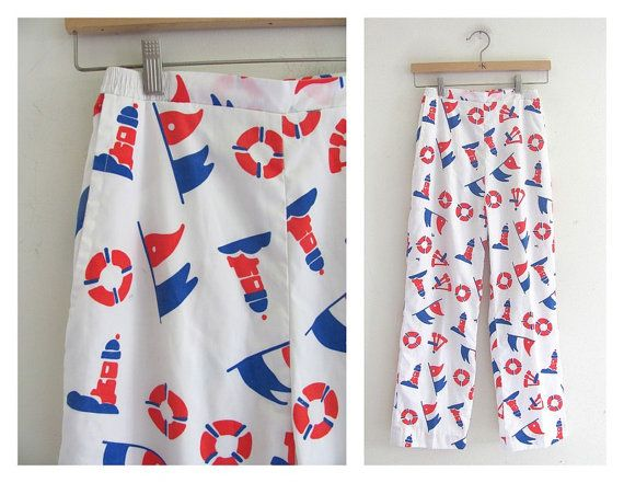 Ahoy Palazzo's: Vintage Vested Gentress nautical pants. lighthouse and flags print. white spring trousers. women's pants