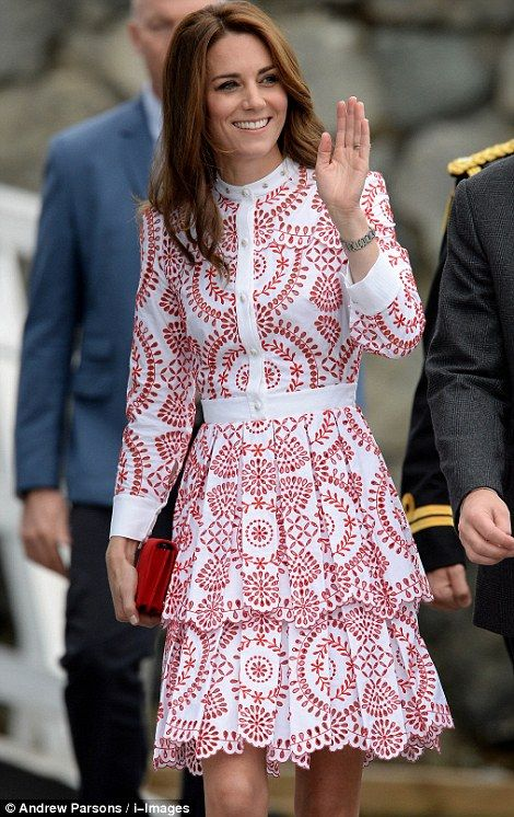 Catherine, Duchess of Cambridge, on day two of the Canadian tour.  In Vancouver.  September 25, 2016.  She is wearing Alexander McQueen.