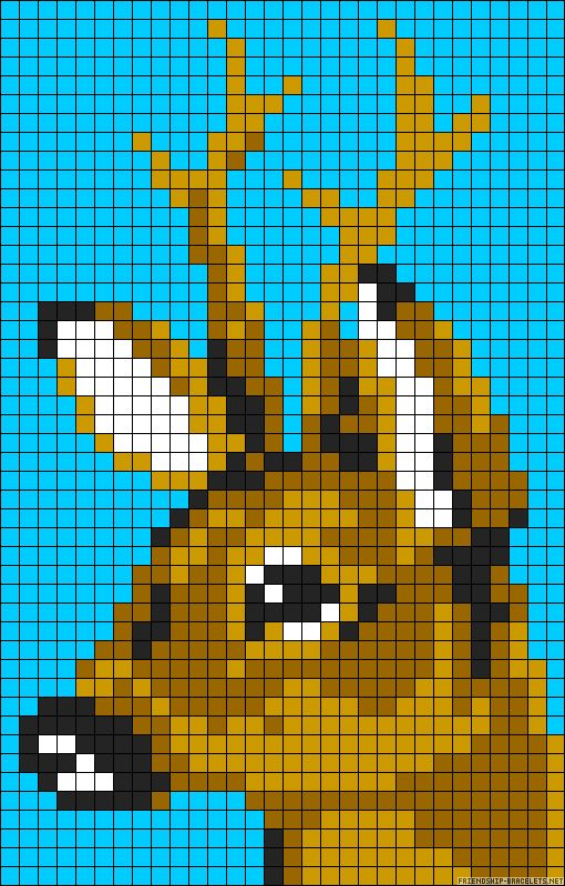 Deer perler bead pattern, could be a Christmas sock.