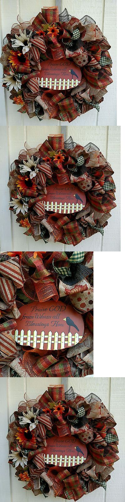 Door D cor 36020: Primitive Fall Autumn Deco Mesh Ribbon Wreath - Free Shipping -> BUY IT NOW ONLY: $50 on eBay!