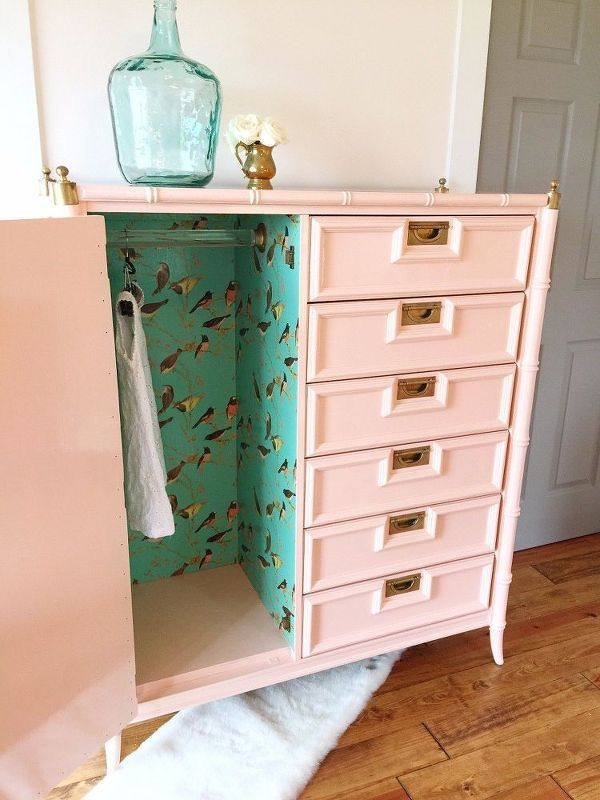 faux bamboo tallboy painted in peach and a pretty surprise too, bedroom ideas, crafts, decoupage, painted furniture, painting, pallet