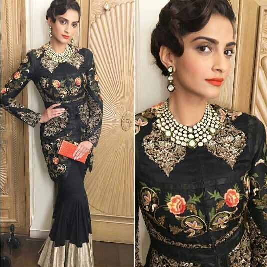 Sonam Kapoor wearing Black embroidered coat and Skirt by Anamika Khanna.